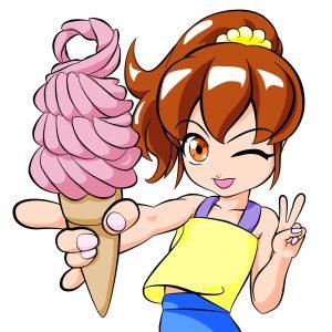 ソフトクリームと少女 ウインク