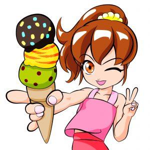 アイスクリームと少女 ウインク
