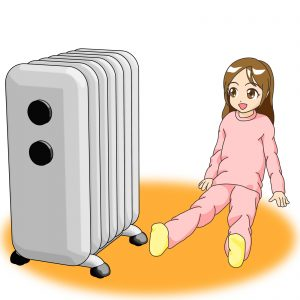 Girl relaxing with oil heater