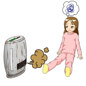 Broken fan heater and girl